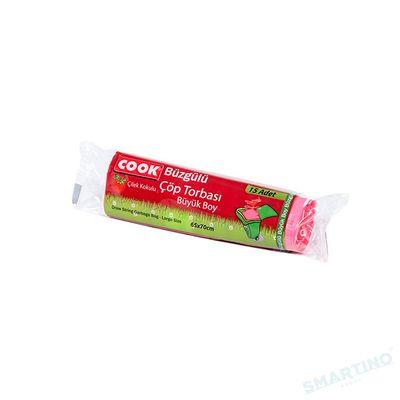 COOK Saci pentru gunoi cu siret 65cm*70cm 15buc 50 L Strawberry