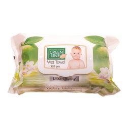 Servetele umede GREEN LINE 120 Green Aple cu capac