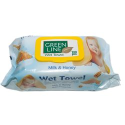 Servetele umede GREEN LINE 100 Milk&Honey cu capac