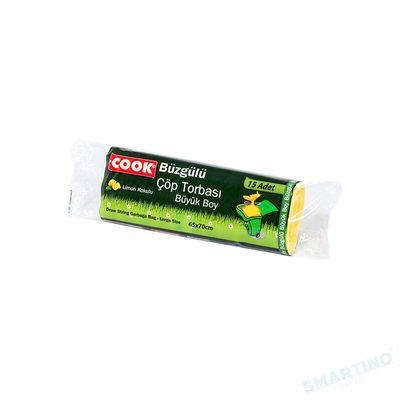 COOK Saci pentru gunoi cu siret 65*70cm 15buc 50 L Lemon