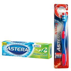 Pasta de dinti ASTERA ACTIV + Herbal Care 100ml + CADOU