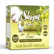 Влажные салфетки SLEEPY 50 Хлопок с оливковым маслом x3 Коробка