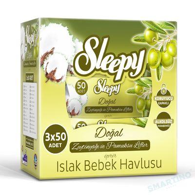 Servetele umede SLEEPY 50 Bumbac cu ulei de Masline x3 Cutie