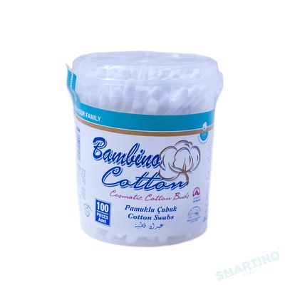 Betisoare igienice de bumbac caseta rotunda Bambino Cotton 100buc