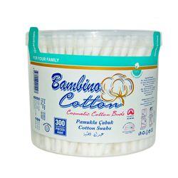 Betisoare igienice de bumbac caseta rotunda Bambino Cotton 300buc