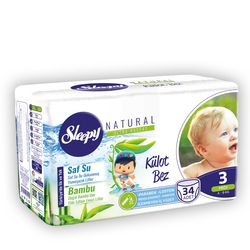 Scutece Chilotel Sleepy Natural Ultra Sensitive 3 Midi 4-9kg, 34 bucati + Cadou Servetele