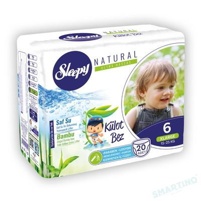 Scutece Chilotel Sleepy Natural Ultra Sensitive 6 Xlarge, 15-25kg, 20 bucati + Cadou Servetele
