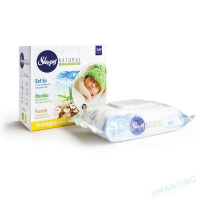 Servetele umede SLEEPY NATURAL 40 Ultra Sensitive Bumbac 0+ 3x40bucati Cutie