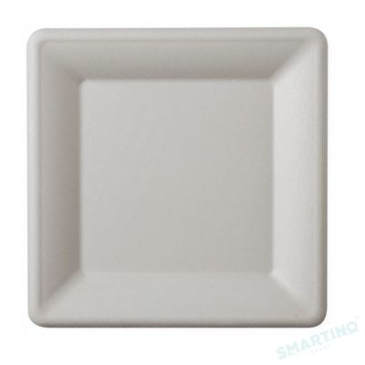 Farfurie patrata de unica folosinta , 20 cm, 100% Biodegradabila si Compostabila, 50 buc/set