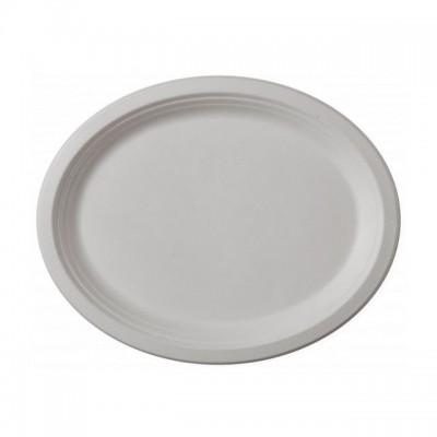 Farfurie ovale de unica folosinta , 25*20 cm, 100% Biodegradabila si Compostabila, 50 buc/set