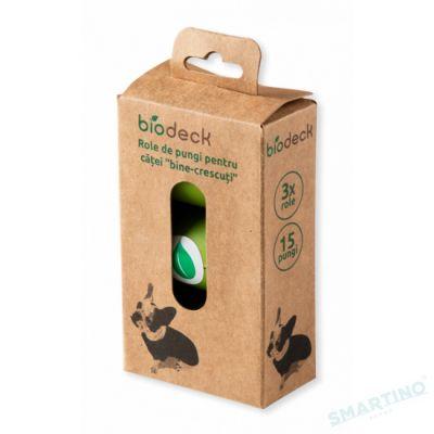 Saci igienici pentru catei, 100% Biodegradabili si Compostabili, 3 role, 15 buc/rola