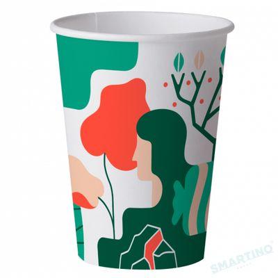 Pahare de unica folosinta Artwork Evelin Bundur 480ml, Biodegradabile si Compostabile, 50buc/set din Amidon de porumb