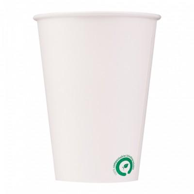 Pahare Dispenser Albe de unica folosinta Cafea/Apa 300ml, Biodegradabile si Compostabile, 50buc/set