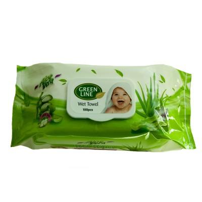 Servetele umede GREEN LINE 100 Aloe Vera cu capac