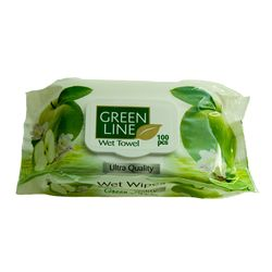 Servetele umede GREEN LINE 100 Green Apple cu capac