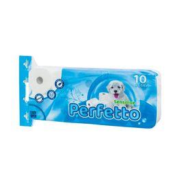Hirtie igienica PERFETTO Sensitive 10 role,3 straturi, 250 foi