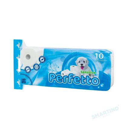 Hirtie igienica PERFETTO Sensitive 10 role,3 straturi, 130 foi