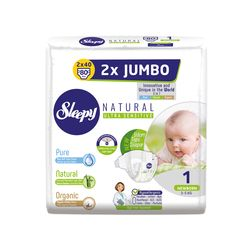 Подгузники Sleepy Natural Ultra Sensitive Double 1 Newborn , 2-5кг, 80 штук