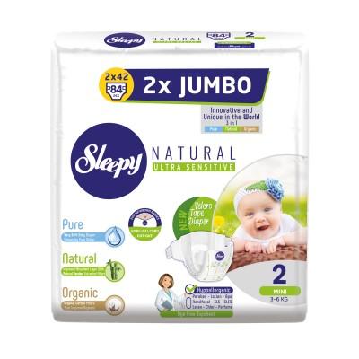 Scutece Sleepy Natural Ultra Sensitive Double Marime 2 Mini , 3-6kg, 84 bucati