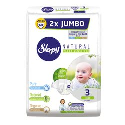 Scutece Sleepy Natural Ultra Sensitive Double Marime 3 Midi , 4-9kg, 68 bucati