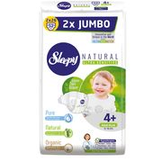 Подгузники Sleepy Natural Ultra Sensitive Double 4+ Maxi Plus, 9-16кг, 52 штук