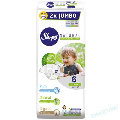 Scutece Sleepy Natural Ultra Sensitive Double Marime 6 XLarge , 15-25kg, 40 bucati
