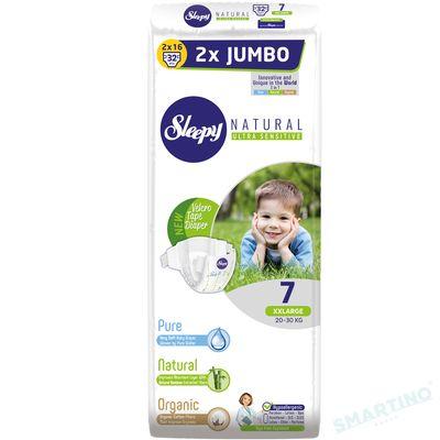 Scutece Sleepy Natural Ultra Sensitive Double Marime 7 XXLarge , 20-30kg, 32 bucati