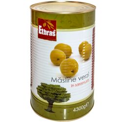 Зеленые оливки с косточкой ETHRAS 4300гр.