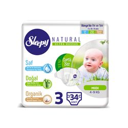 Подгузники Sleepy Natural Ultra Sensitive ECO 3 Midi , 4-9кг, 34 штук