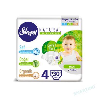 Scutece Sleepy Natural Ultra Sensitive ECO Marime 4 Maxi , 7-14kg, 30 bucati