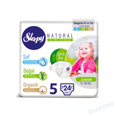 Scutece Sleepy Natural Ultra Sensitive ECO Marime 5 Junior , 11-18kg, 24 bucati