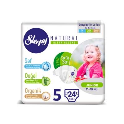 Scutece Sleepy Natural Ultra Sensitive ECO Marime 5 Junior , 11-18kg, 24 bucati