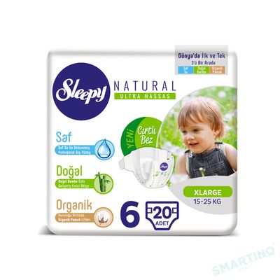 Scutece Sleepy Natural Ultra Sensitive ECO Marime 6 XLarge , 15-25kg, 20 bucati