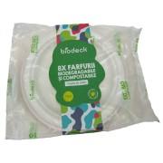 Farfurie rotunda de unica folosinta , 17 cm, 100% Biodegradabila si Compostabila, 8 buc/set