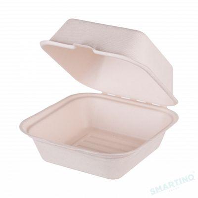 Caserola de unica folosinta cu capac hamburgher, 600 ml 15x15 cm, 100% Biodegradabila si Compostabila, 50 buc/set, din Trestie de zahar