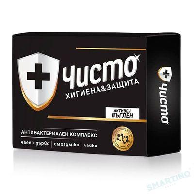 """Săpun antibacterian """"ЧИСТО"""" Carbune Activ 100 gr"""