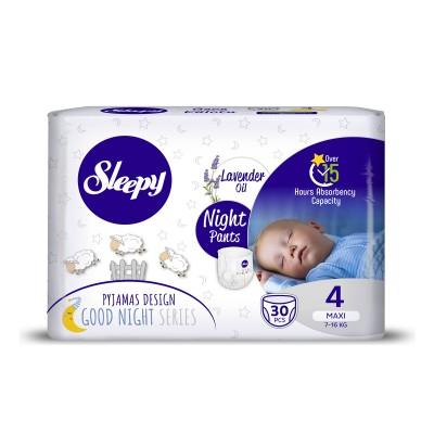Scutece Chilotel Sleepy Natural Ultra Sensitive Night 4 Maxi, 7-14kg, 30 bucati