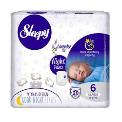 Scutece Chilotel Sleepy Natural Ultra Sensitive Night 6 Xlarge , 15-25kg, 20 bucati