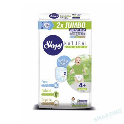 Scutece Chilotel Sleepy Natural Ultra Sensitive DOUBLE 4+ Maxi Plus, 9-16kg, 52 bucati