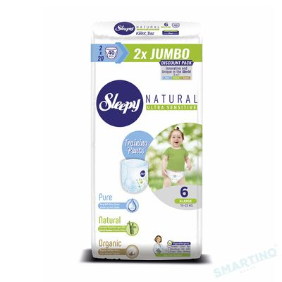 Scutece Chilotel Sleepy Natural Ultra Sensitive DOUBLE 6 Xlarge, 15-25kg, 40 bucati