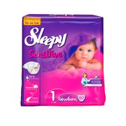 Scutece Sleepy Sensitive Jumbo Hipoalergenic 1 New Born, 2-5 kg, 80 buc