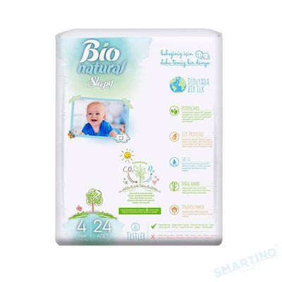 Scutece Sleepy Bio Natural Marime 4 Maxi , 4-16kg, 24 bucati