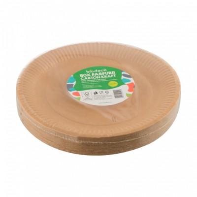 "Farfurii rotunde de unica folosinta carton kraft "" Biodeck"" 23 cm, 50 buc/set"