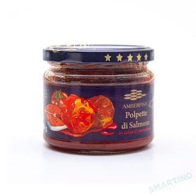 "Chiftelute de somon in sos de rosii 280gr ""Amberfish"" borcan sticla"