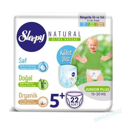 Scutece Chilotel Sleepy Natural Ultra Sensitive 5+ Junior Plus, 13-20kg, 22 bucati