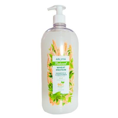 Șampon și balsam 2 În 1 AROMA NATURAL Proteină de grâu 900 ml Pompa